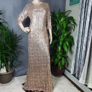 Badgley Mischka Cowl Back Sequin Classic Dress 14